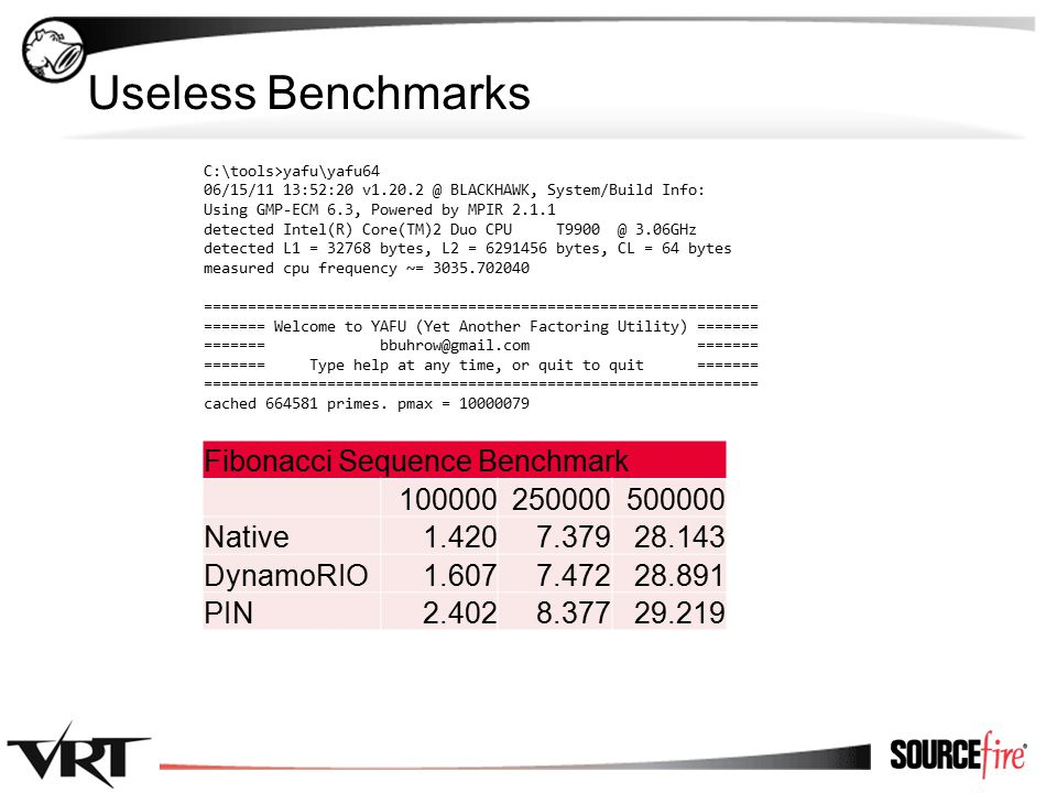 19 Useless Benchmarks Fibonacci Sequence Benchmark 100000250000500000 Native1.4207.37928.143 DynamoRIO1.6077.47228.891 PIN2.4028.37729.219 C:\tools>yafu\yafu64 06/15/11 13:52:20 v1.20.2 @ BLACKHAWK, System/Build Info: Using GMP-ECM 6.3, Powered by MPIR 2.1.1 detected Intel(R) Core(TM)2 Duo CPU T9900 @ 3.06GHz detected L1 = 32768 bytes, L2 = 6291456 bytes, CL = 64 bytes measured cpu frequency ~= 3035.702040 =============================================================== ======= Welcome to YAFU (Yet Another Factoring Utility) ======= ======= bbuhrow@gmail.com ======= ======= Type help at any time, or quit to quit ======= =============================================================== cached 664581 primes.
