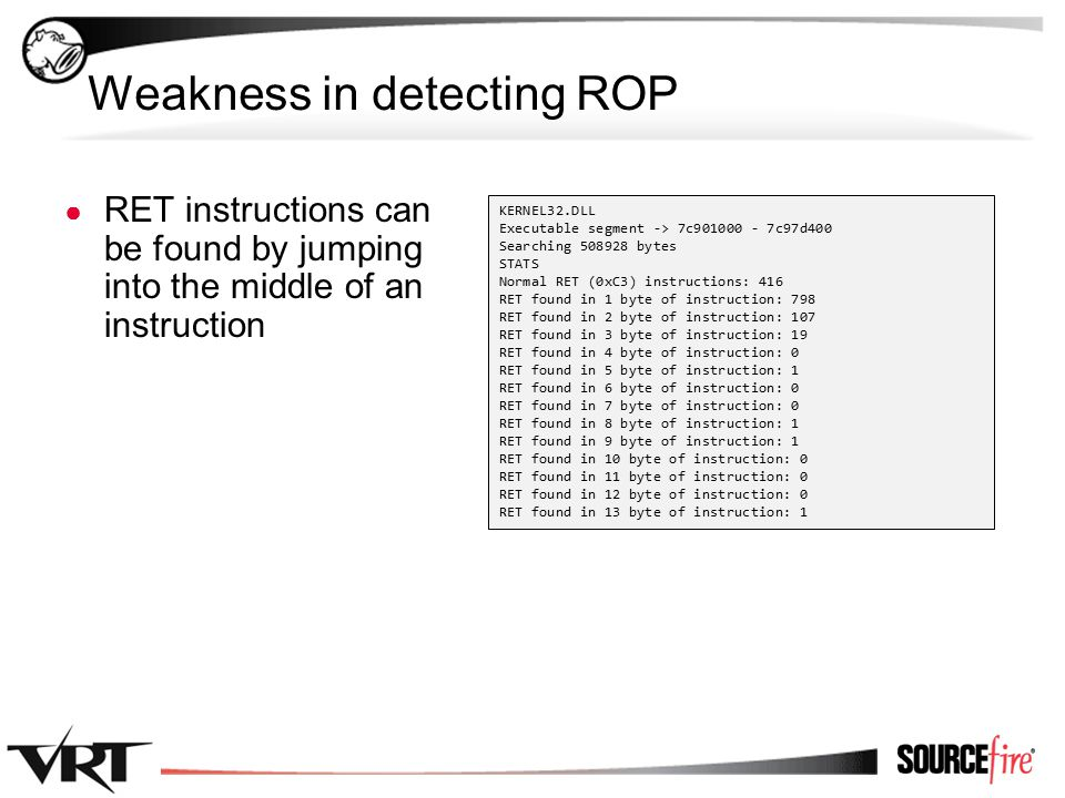39 Weakness in detecting ROP ● RET instructions can be found by jumping into the middle of an instruction KERNEL32.DLL Executable segment -> 7c901000 - 7c97d400 Searching 508928 bytes STATS Normal RET (0xC3) instructions: 416 RET found in 1 byte of instruction: 798 RET found in 2 byte of instruction: 107 RET found in 3 byte of instruction: 19 RET found in 4 byte of instruction: 0 RET found in 5 byte of instruction: 1 RET found in 6 byte of instruction: 0 RET found in 7 byte of instruction: 0 RET found in 8 byte of instruction: 1 RET found in 9 byte of instruction: 1 RET found in 10 byte of instruction: 0 RET found in 11 byte of instruction: 0 RET found in 12 byte of instruction: 0 RET found in 13 byte of instruction: 1