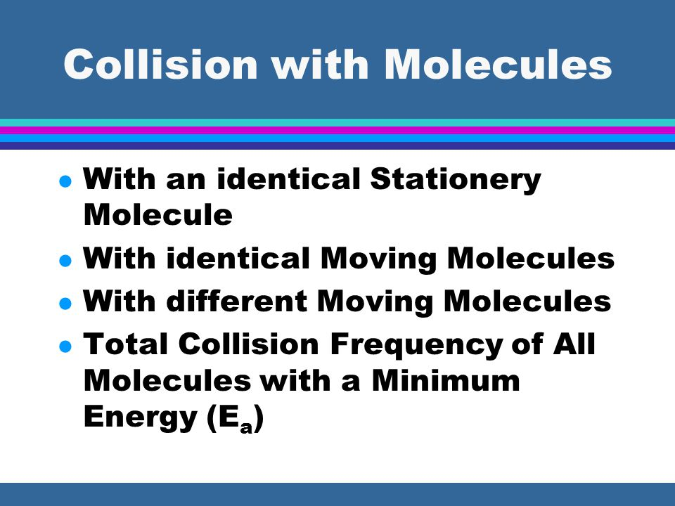 Collision with Molecules l With an identical Stationery Molecule l With identical Moving Molecules l With different Moving Molecules l Total Collision