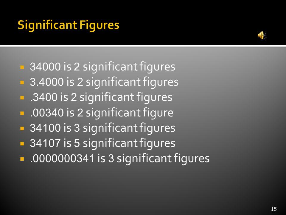 15  34000 is 2 significant figures  3.4000 is 2 significant figures .3400 is 2 significant figures .00340 is 2 significant figure  34100 is 3 significant figures  34107 is 5 significant figures .0000000341 is 3 significant figures