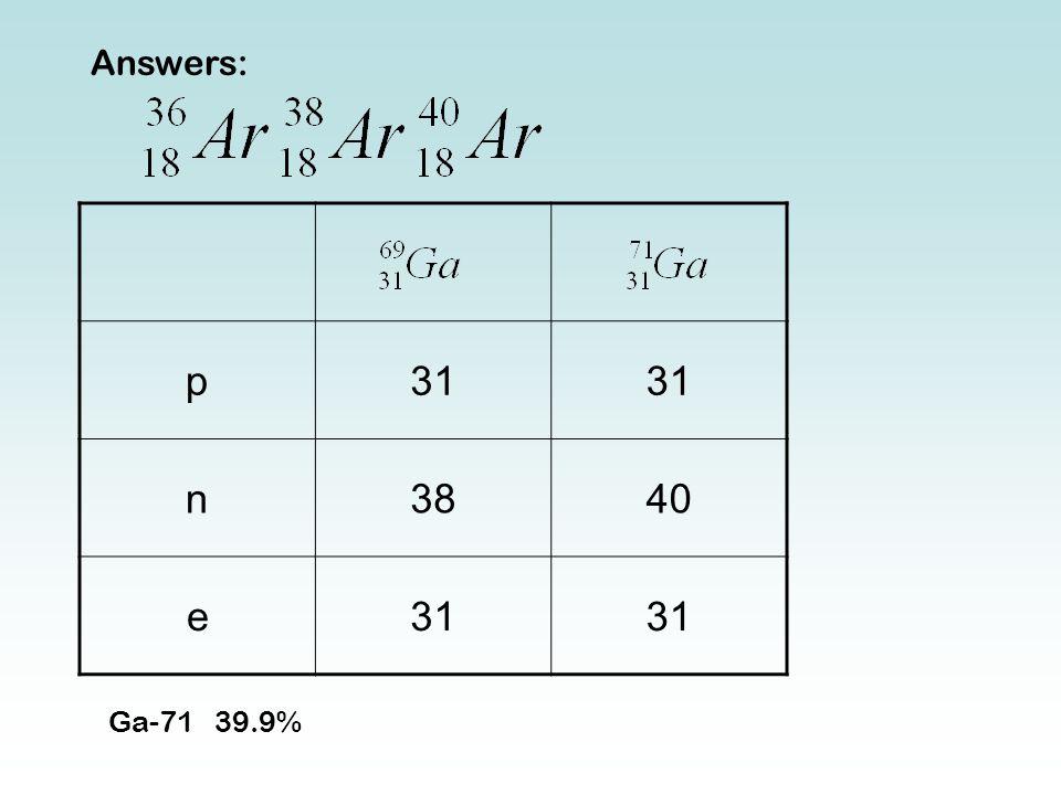Answers: p31 n3840 e31 Ga-7139.9%