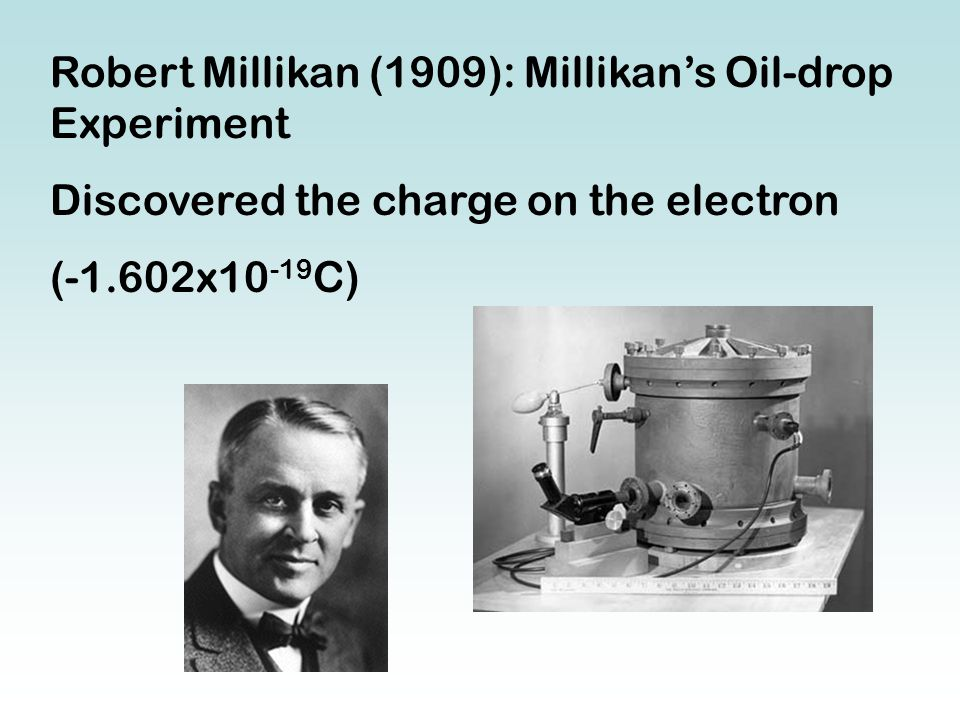 Robert Millikan (1909): Millikan's Oil-drop Experiment Discovered the charge on the electron (-1.602x10 -19 C)