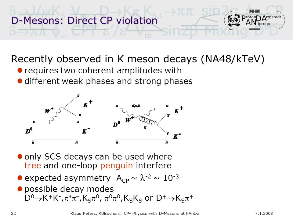 227.1.2003Klaus Peters, RUBochum, CP- Physics with D-Mesons at PAnDa D-Mesons: Direct CP violation Recently observed in K meson decays (NA48/kTeV) requires two coherent amplitudes with different weak phases and strong phases only SCS decays can be used where tree and one-loop penguin interfere expected asymmetry A CP ~ -2 ~ 10 -3 possible decay modes D 0 K + K -,   ,K S  0,  0  0,K S K S or D + K S  +
