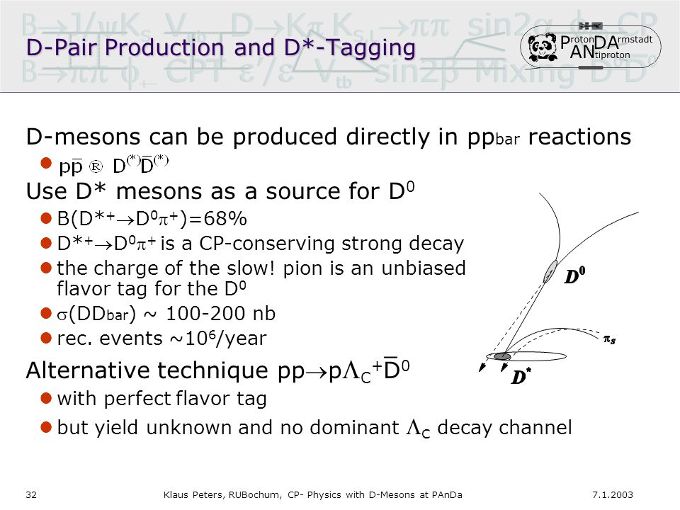 327.1.2003Klaus Peters, RUBochum, CP- Physics with D-Mesons at PAnDa D-Pair Production and D*-Tagging D-mesons can be produced directly in pp bar reactions Use D* mesons as a source for D 0 B(D* + D 0  + )=68% D* + D 0  + is a CP-conserving strong decay the charge of the slow.