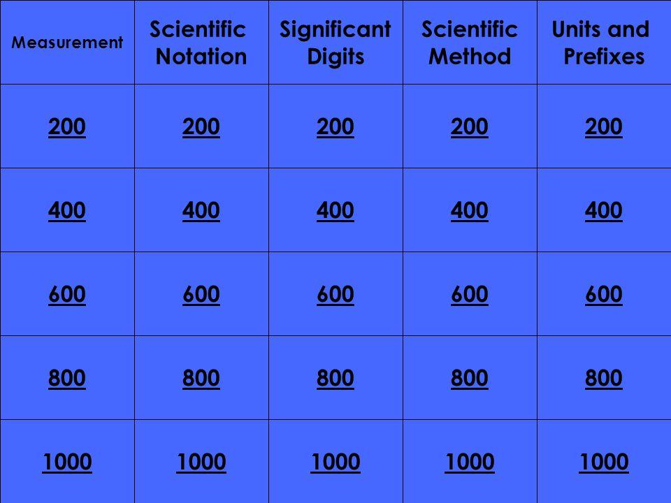 200 400 200 400 600 800 1000 800 1000 Measurement Scientific Notation Significant Digits Scientific Method Units and Prefixes