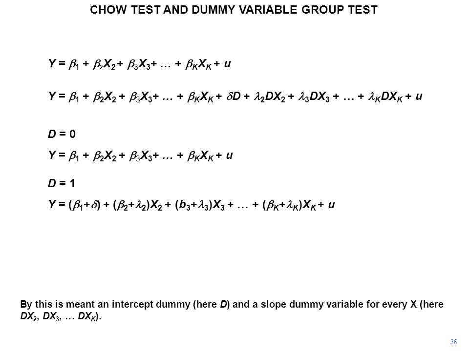CHOW TEST AND DUMMY VARIABLE GROUP TEST 36 By this is meant an intercept dummy (here D) and a slope dummy variable for every X (here DX 2, DX 3, … DX