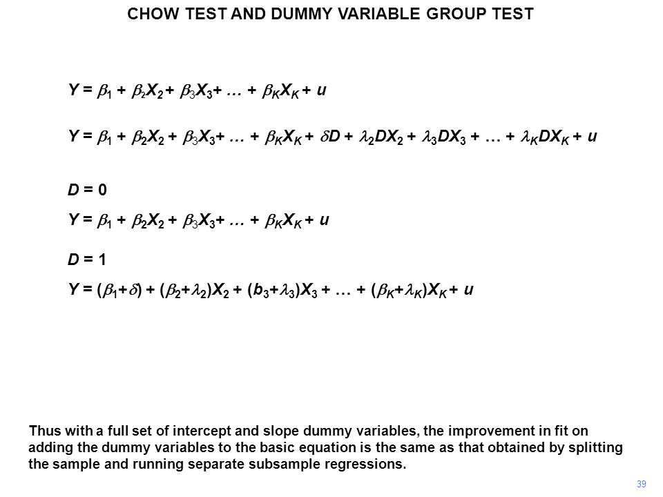 CHOW TEST AND DUMMY VARIABLE GROUP TEST 39 Thus with a full set of intercept and slope dummy variables, the improvement in fit on adding the dummy var