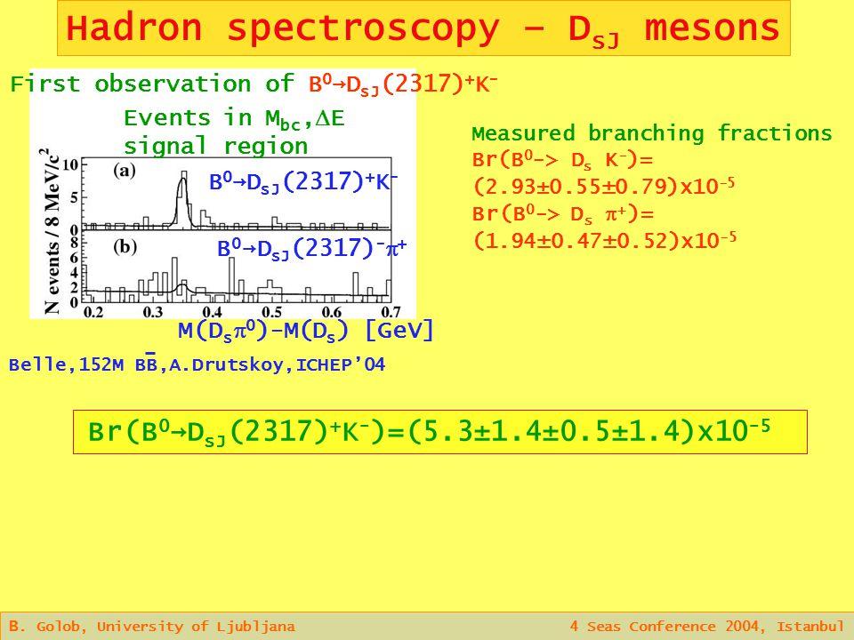 Hadron spectroscopy – D sJ mesons B.
