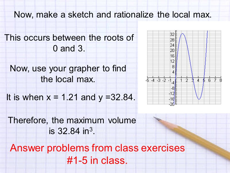 Now, make a sketch and rationalize the local max. This occurs between the roots of 0 and 3.