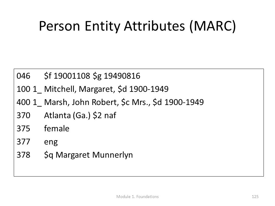 Person Entity Attributes (MARC) 046$f 19001108 $g 19490816 100 1_Mitchell, Margaret, $d 1900-1949 400 1_Marsh, John Robert, $c Mrs., $d 1900-1949 370Atlanta (Ga.) $2 naf 375female 377eng 378$q Margaret Munnerlyn Module 1.