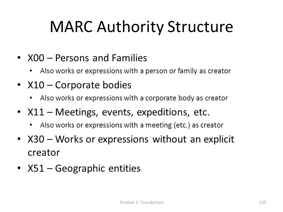 MARC Authority Structure X00 – Persons and Families Also works or expressions with a person or family as creator X10 – Corporate bodies Also works or expressions with a corporate body as creator X11 – Meetings, events, expeditions, etc.