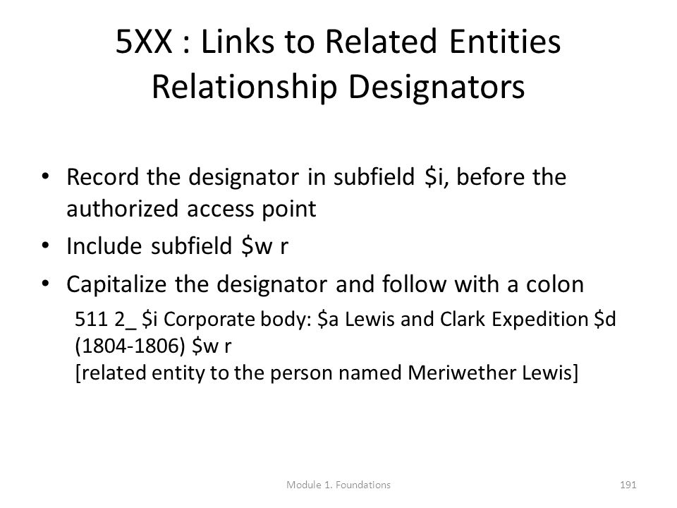 5XX : Links to Related Entities Relationship Designators Record the designator in subfield $i, before the authorized access point Include subfield $w r Capitalize the designator and follow with a colon 511 2_ $i Corporate body: $a Lewis and Clark Expedition $d (1804-1806) $w r [related entity to the person named Meriwether Lewis] Module 1.