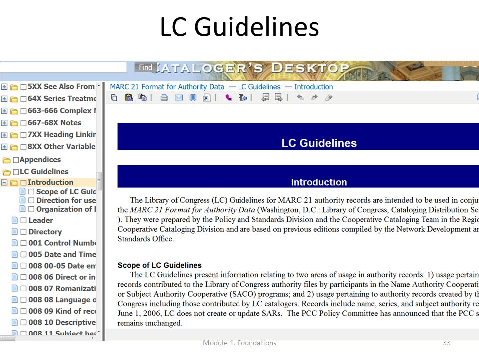 33 LC Guidelines Module 1. Foundations