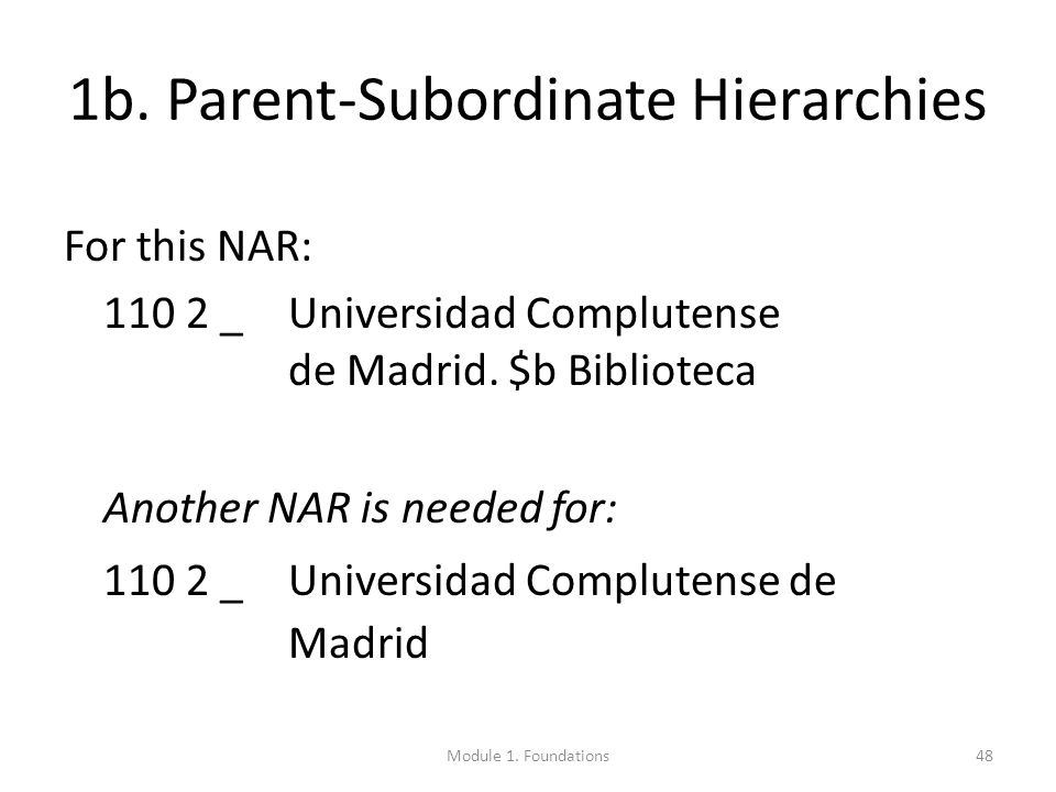 1b. Parent-Subordinate Hierarchies For this NAR: 110 2 _Universidad Complutense de Madrid.