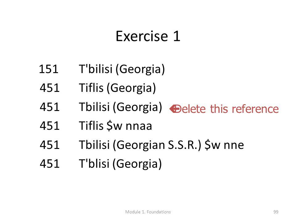 99 Exercise 1 151 T bilisi (Georgia) 451 Tiflis (Georgia) 451 Tbilisi (Georgia) 451 Tiflis $w nnaa 451 Tbilisi (Georgian S.S.R.) $w nne 451 T blisi (Georgia)  Delete this reference Module 1.