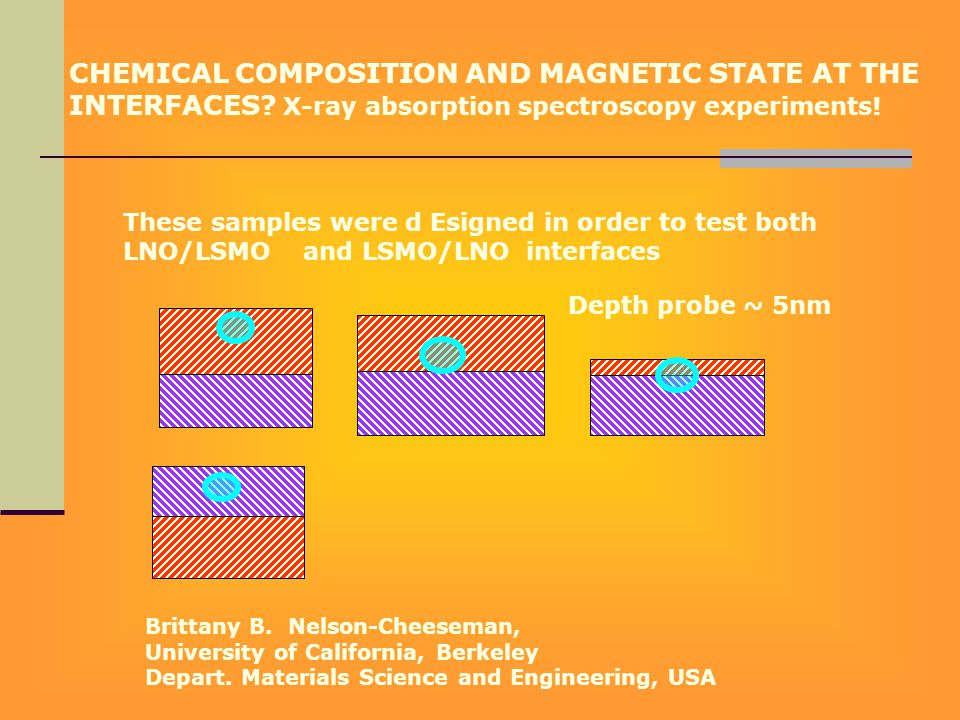 CHEMICAL COMPOSITION AND MAGNETIC STATE AT THE INTERFACES? X-ray absorption spectroscopy experiments! Depth probe ~ 5nm These samples were d Esigned i