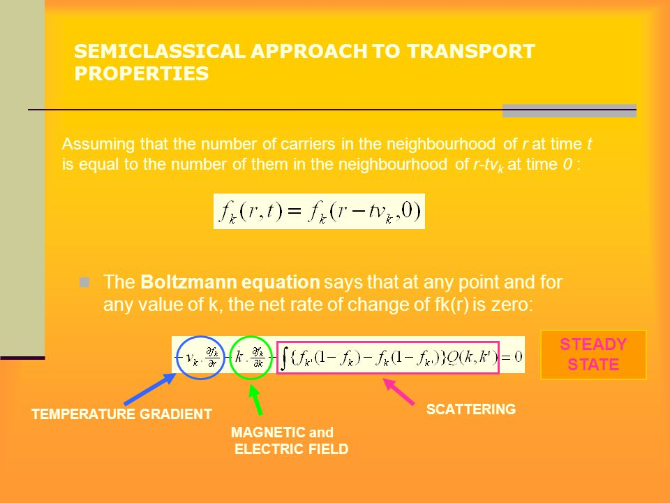 SEMICLASSICAL APPROACH TO TRANSPORT PROPERTIES The Boltzmann equation says that at any point and for any value of k, the net rate of change of fk(r) i