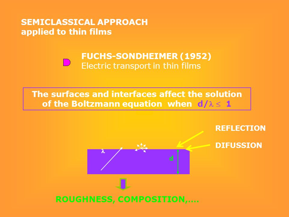 d The surfaces and interfaces affect the solution of the Boltzmann equation when d/  1 SEMICLASSICAL APPROACH applied to thin films ROUGHNESS, COMPOSITION,….