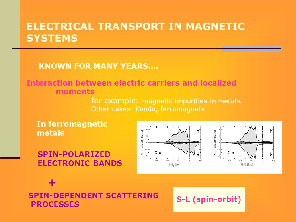 ELECTRICAL TRANSPORT IN MAGNETIC SYSTEMS KNOWN FOR MANY YEARS…. Interaction between electric carriers and localized moments for example: magnetic impu