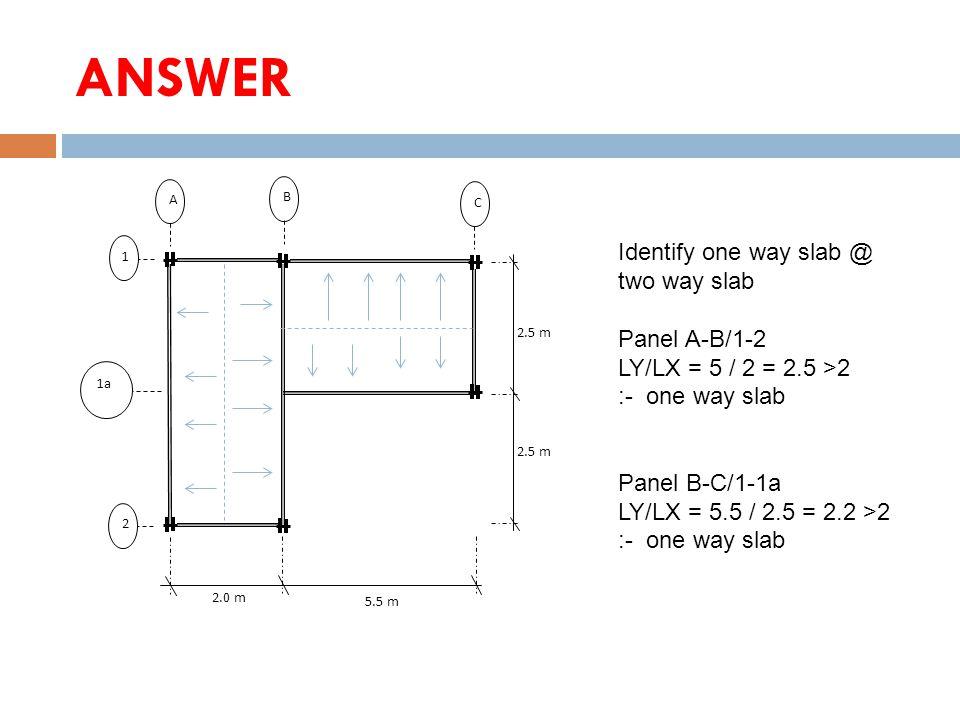 ANSWER A 1 2 C B 1a 5.5 m 2.0 m 2.5 m Identify one way slab @ two way slab Panel A-B/1-2 LY/LX = 5 / 2 = 2.5 >2 :- one way slab Panel B-C/1-1a LY/LX =