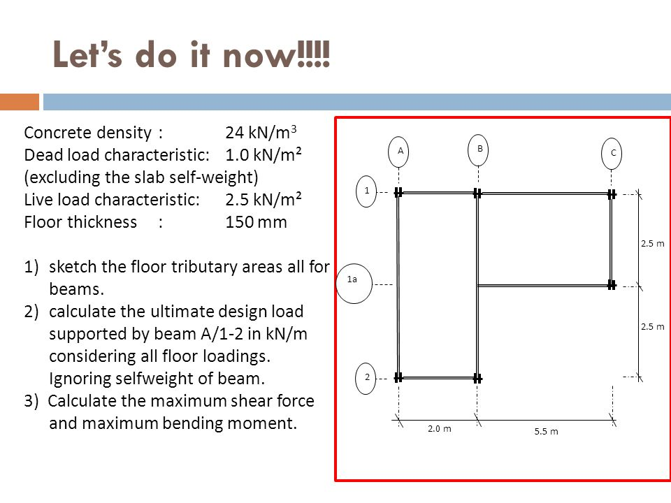 Let's do it now!!!! A 1 2 C B 1a 5.5 m 2.0 m 2.5 m Concrete density: 24 kN/m 3 Dead load characteristic: 1.0 kN/m² (excluding the slab self-weight) Li