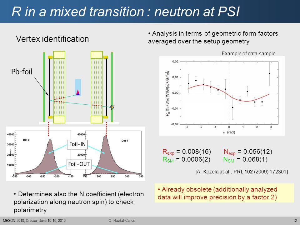 12MESON 2010, Cracow, June 10-16, 2010 O. Naviliat-Cuncic R in a mixed transition : neutron at PSI Pb-foil Vertex identification [A. Kozela at al., PR