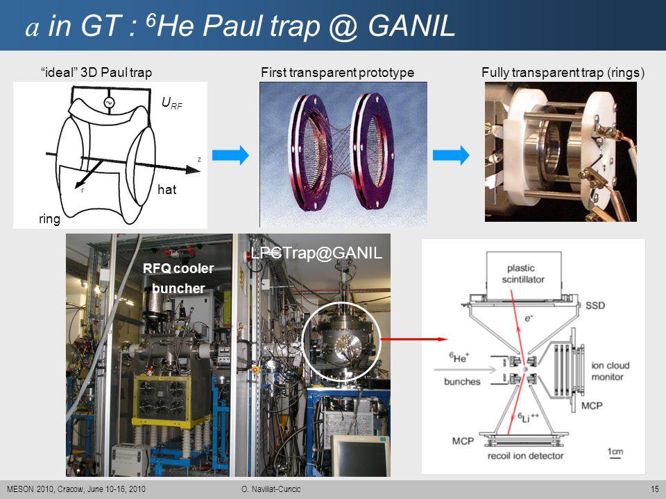 15MESON 2010, Cracow, June 10-16, 2010 O. Naviliat-Cuncic a in GT : 6 He Paul trap @ GANIL LPCTrap@GANIL RFQ cooler buncher First transparent prototyp