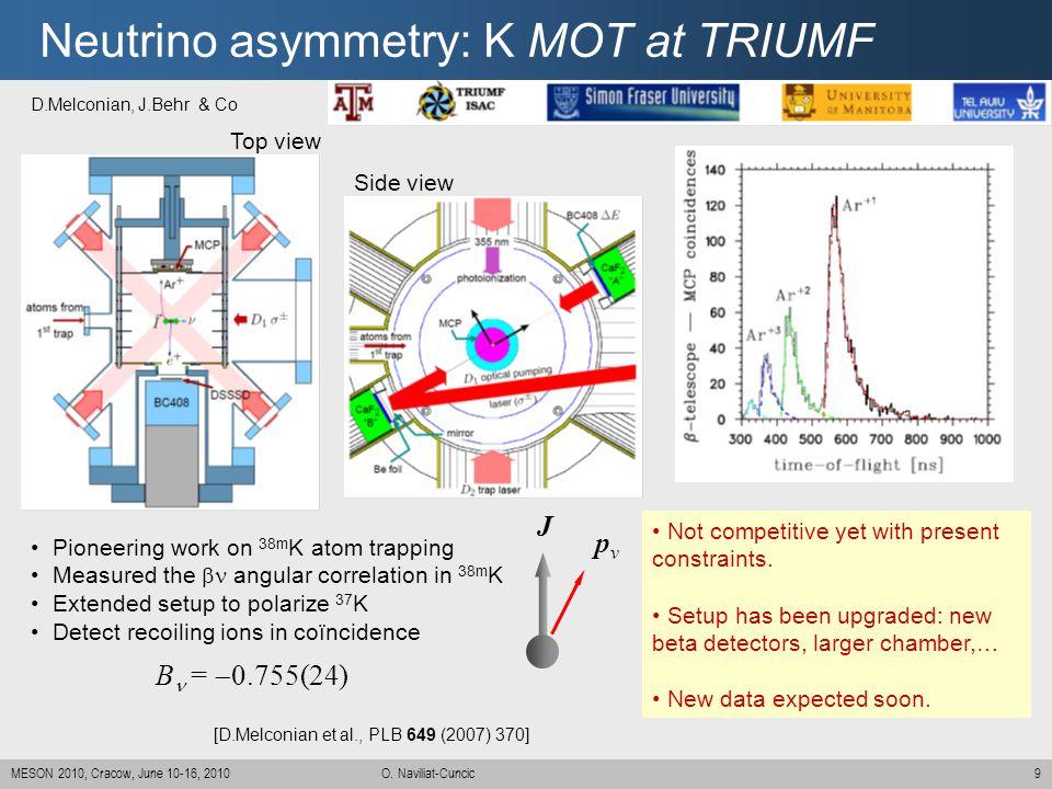 9MESON 2010, Cracow, June 10-16, 2010 O. Naviliat-Cuncic Neutrino asymmetry: K MOT at TRIUMF B =  0.755(24) [D.Melconian et al., PLB 649 (2007) 370]