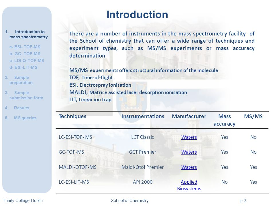 Trinity College DublinSchool of Chemistryp 2 Introduction 1.Introduction to mass spectrometry a- ESI- TOF-MS b- GC- TOF-MS c- LDI-Q-TOF-MS d- ESI-LIT-MS 2.