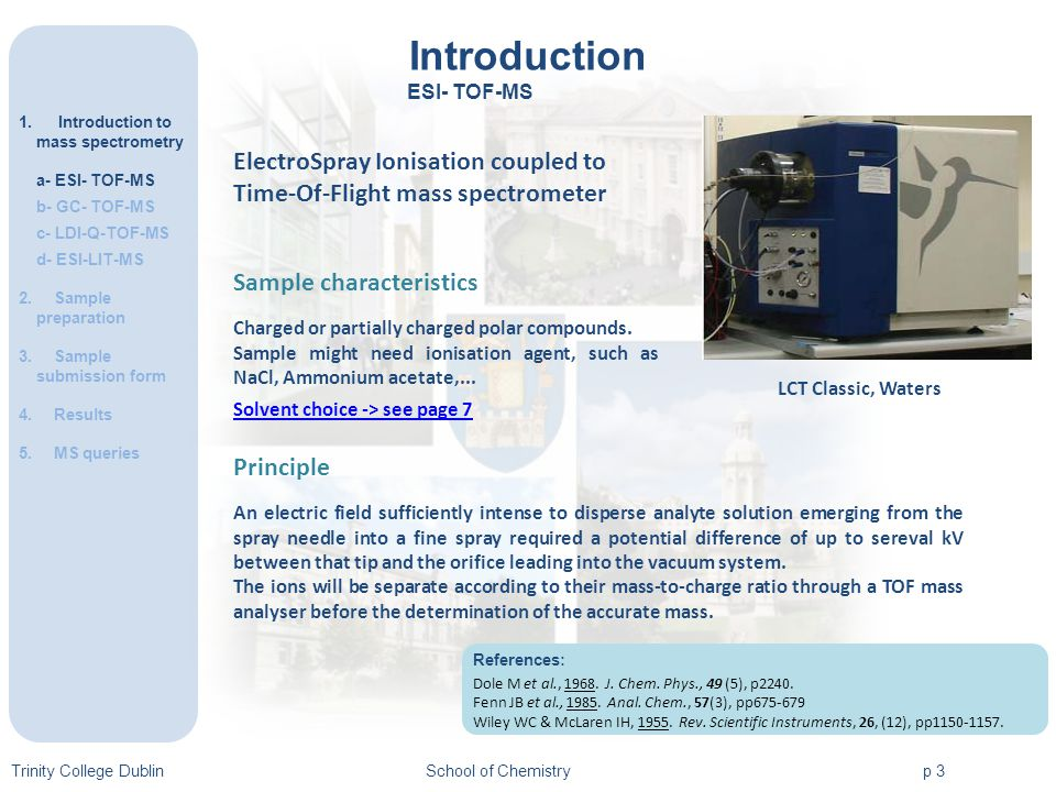 Introduction 1.Introduction to mass spectrometry a- ESI- TOF-MS b- GC- TOF-MS c- LDI-Q-TOF-MS d- ESI-LIT-MS 2.