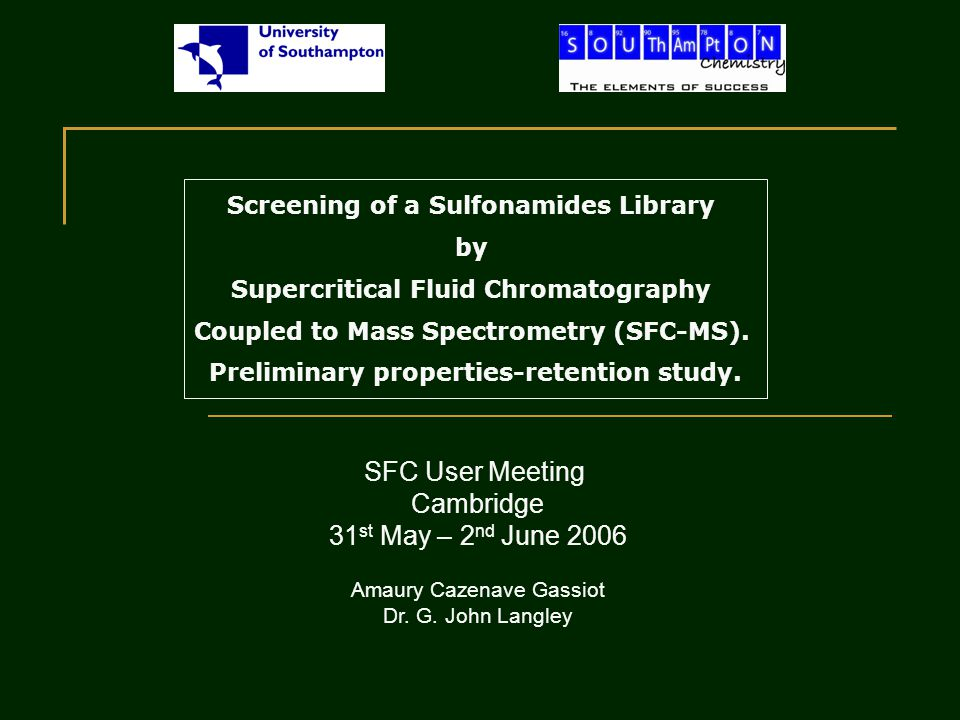 Screening of a Sulfonamides Library by Supercritical Fluid Chromatography Coupled to Mass Spectrometry (SFC-MS).