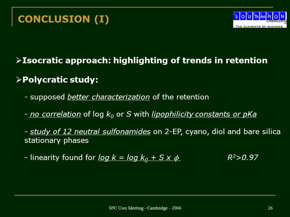 SFC User Meeting - Cambridge - 2006 26  Isocratic approach: highlighting of trends in retention  Polycratic study: CONCLUSION (I) - supposed better
