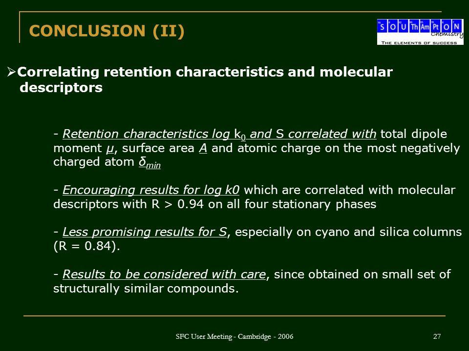 SFC User Meeting - Cambridge - 2006 27 CONCLUSION (II)  Correlating retention characteristics and molecular descriptors - Retention characteristics l