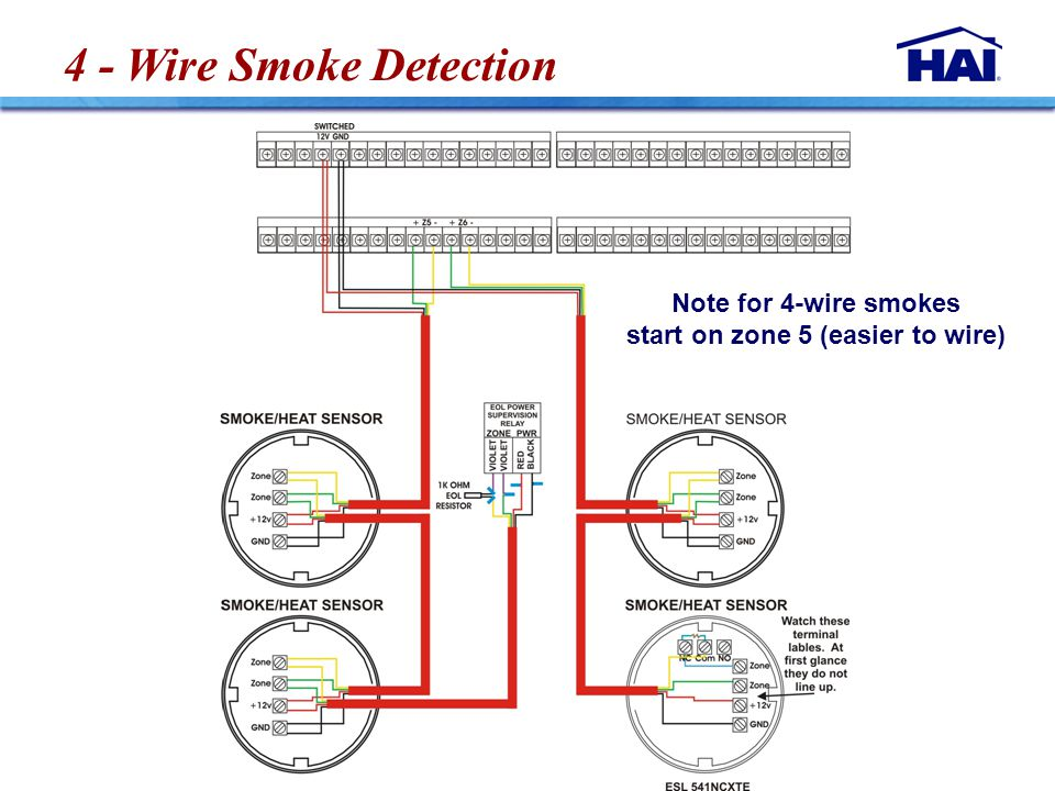 4 - Wire Smoke Detection Note for 4-wire smokes start on zone 5 (easier to wire)