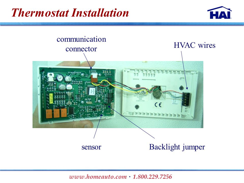 Thermostat Installation HVAC wires communication connector Backlight jumpersensor