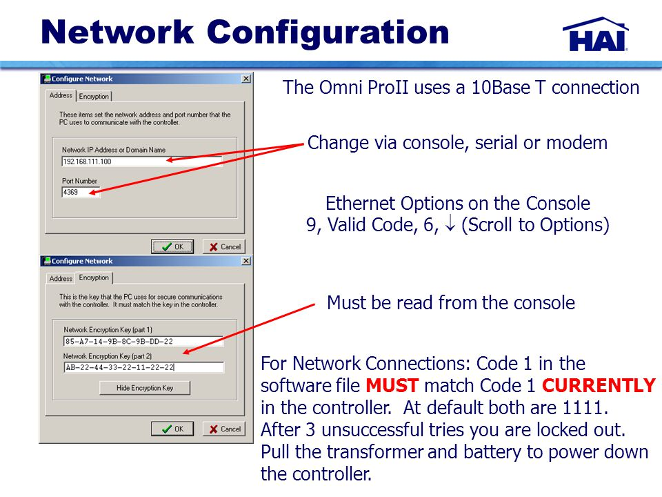 Network Configuration For Network Connections: Code 1 in the software file MUST match Code 1 CURRENTLY in the controller.