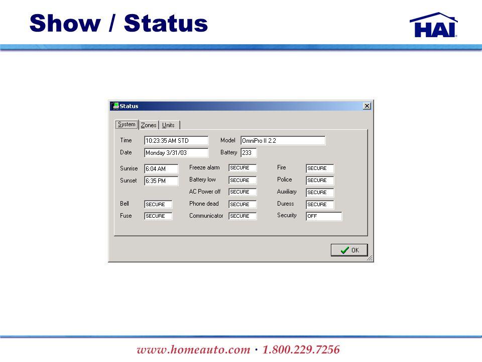 Show / Status