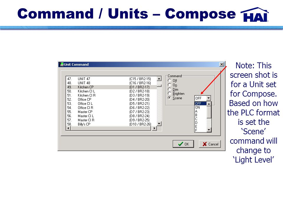 Command / Units – Compose Note: This screen shot is for a Unit set for Compose.