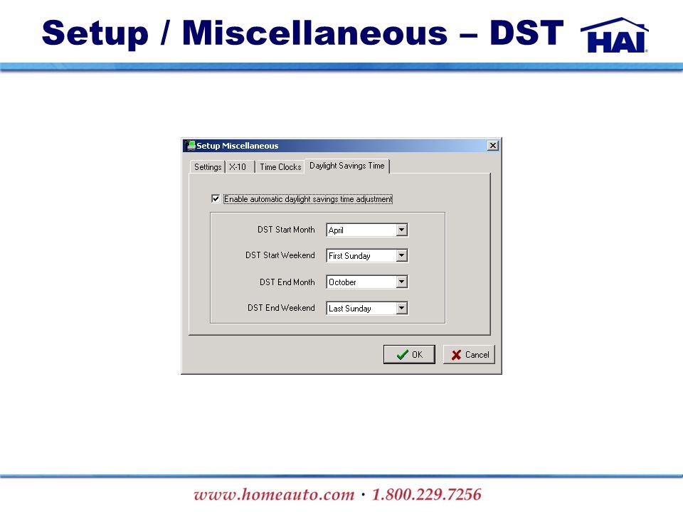 Setup / Miscellaneous – DST