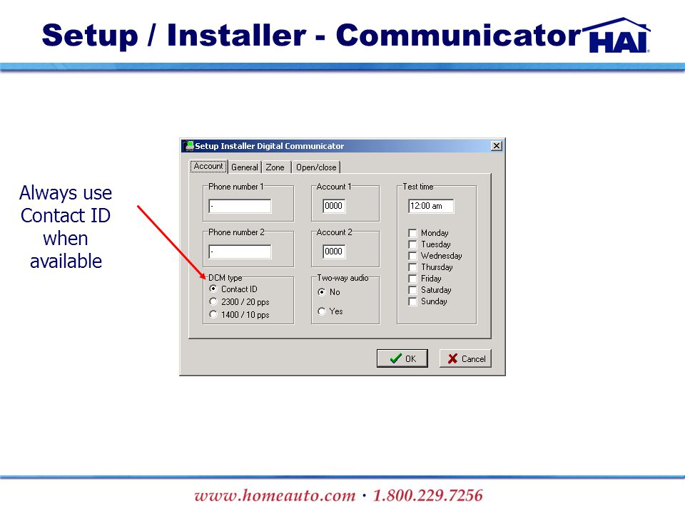 Always use Contact ID when available Setup / Installer - Communicator