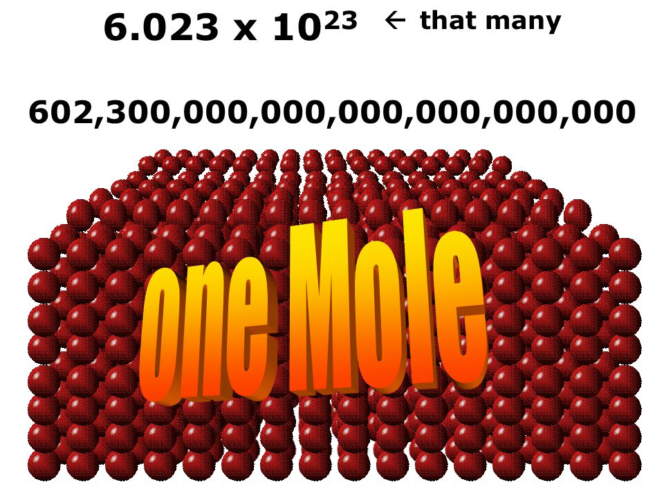 6.023 x 10 23  that many 602,300,000,000,000,000,000,000