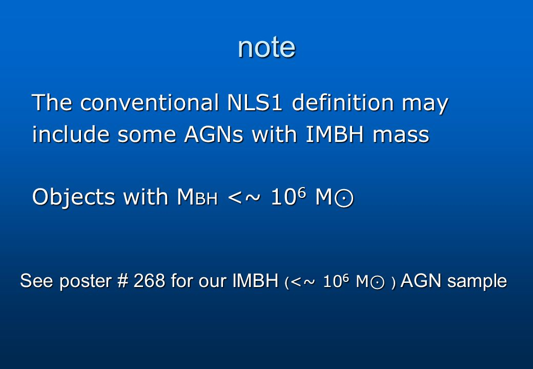 note The conventional NLS1 definition may include some AGNs with IMBH mass Objects with M BH <~ 10 6 M ⊙ See poster # 268 for our IMBH ( <~ 10 6 M ⊙ ) AGN sample