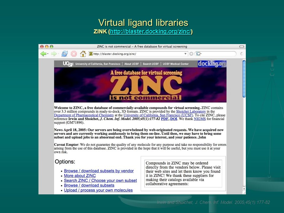 Virtual ligand libraries ZINK (http://blaster.docking.org/zinc/) http://blaster.docking.org/zinc/ Irwin and Shoichet, J.