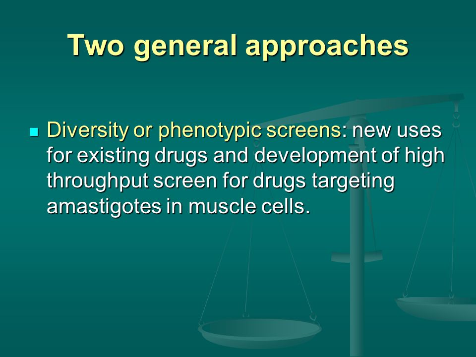 Two general approaches Diversity or phenotypic screens: new uses for existing drugs and development of high throughput screen for drugs targeting amastigotes in muscle cells.
