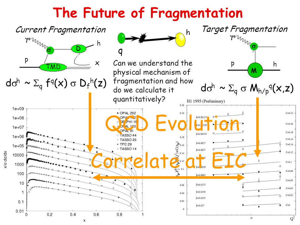 The Future of Fragmentation TMD u (x,k T ) f 1,g 1,f 1T,g 1T h 1, h 1T,h 1L,h 1 p h x TMD  D Current Fragmentation h q Can we understand the physical mechanism of fragmentation and how do we calculate it quantitatively.