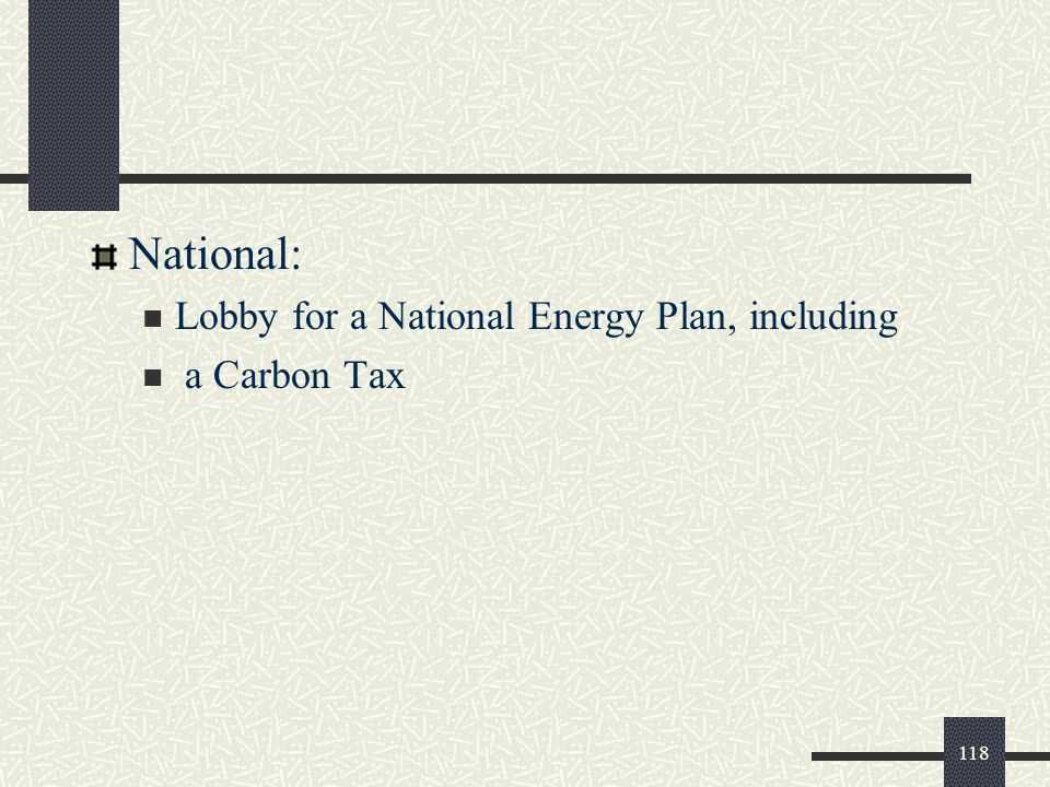 National: Lobby for a National Energy Plan, including a Carbon Tax 118