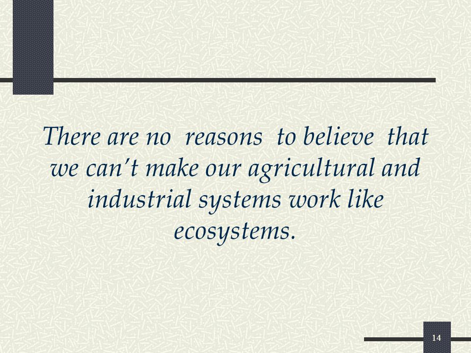 14 There are no reasons to believe that we can't make our agricultural and industrial systems work like ecosystems.