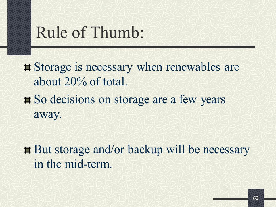 Rule of Thumb: Storage is necessary when renewables are about 20% of total.