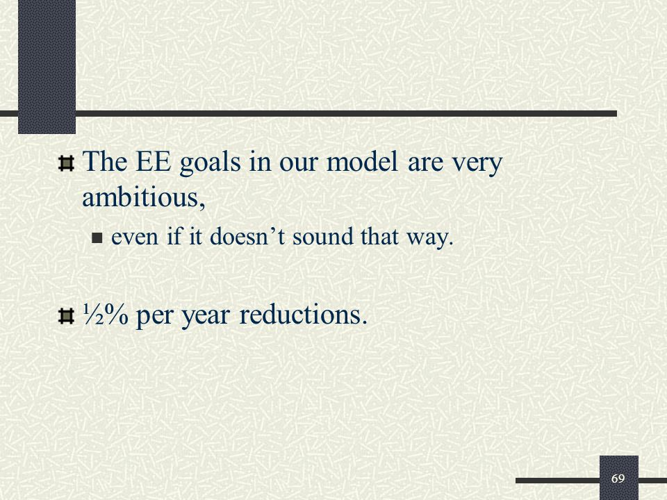 The EE goals in our model are very ambitious, even if it doesn't sound that way.