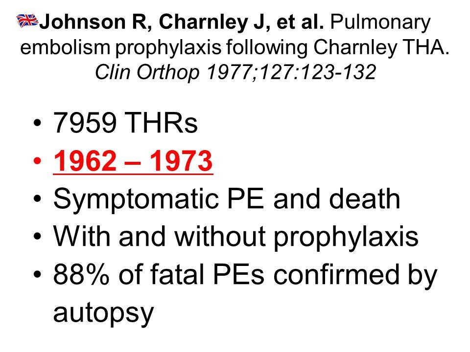 Johnson R, Charnley J, et al.Pulmonary embolism prophylaxis following Charnley THA.